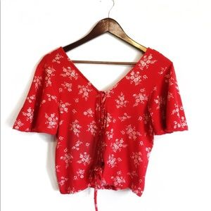Ten Sixty Sherman Red Floral Crop Top Size XL